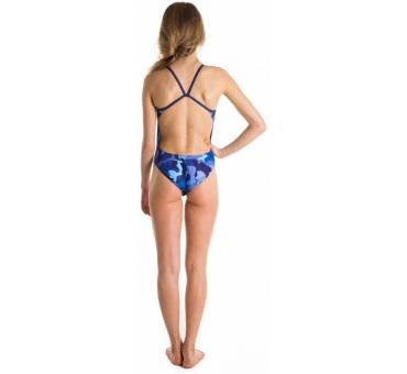 Costume allenamento donna Openback Blue Camo SwimmerWear