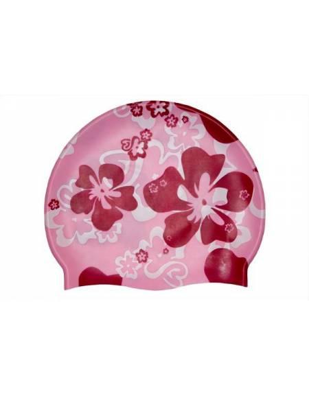Cuffia rosa in silicone con decorazione fiori