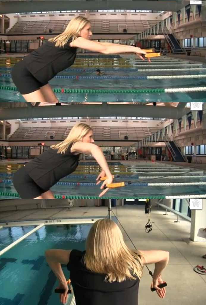 esercizio con elastici gomito alto doppia bracciata