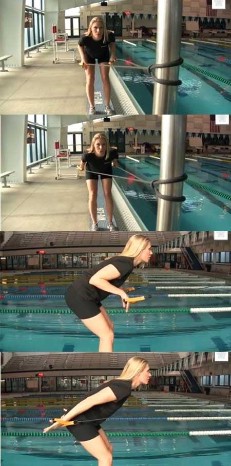 trazione esercizio nuoto elastico