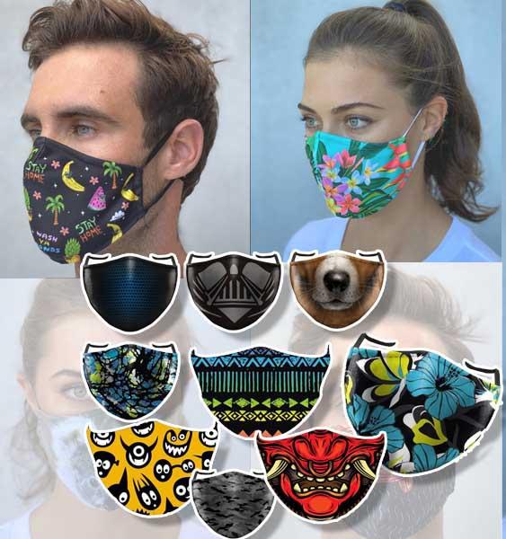 mascherine lavabili con filtro fantasia e colorate riutilizzabili