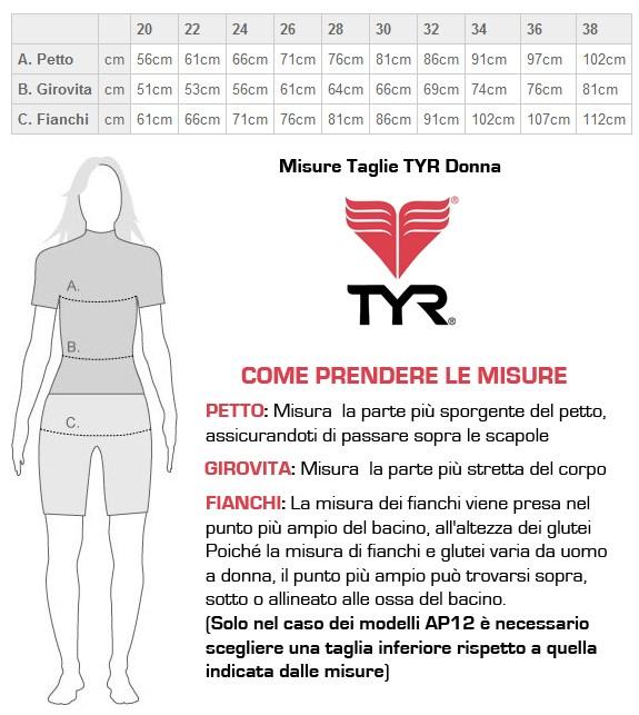 tabella taglie TYR